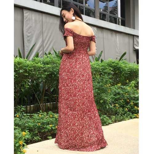 Floral Offsie Maxi Dress (Red)
