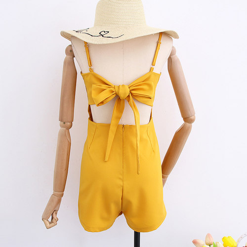 Laced Back Tie Bow Romper (Free Mailing)