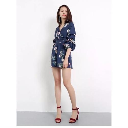 Floral Ruffle Sleeve Romper (Blue)