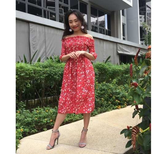 Floral Offsie Midi Dress (Red)