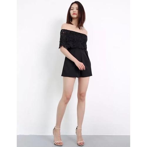 Arissa Crochet Tube Romper (Black)
