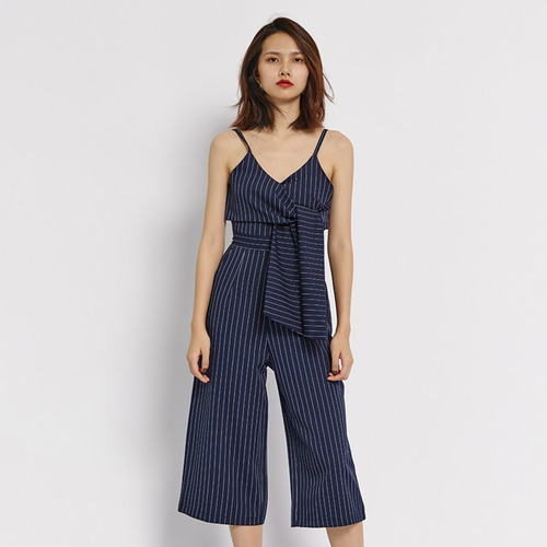 Overlap Stripes Jumpsuits