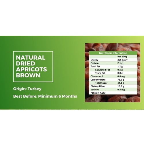 Natural Dried Apricots 500g Brown x2 - Value Bundle 1+1