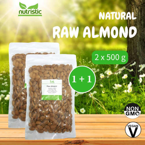 Natural Raw Almond 500g x2 - Value Bundle 1+1