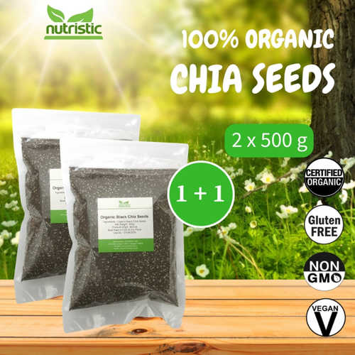 Organic Chia Seeds 500g x2 - Value Bundle 1+1