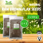 Natural Raw Brown Flax Seeds 500g x2 - Value Bundle 1+1