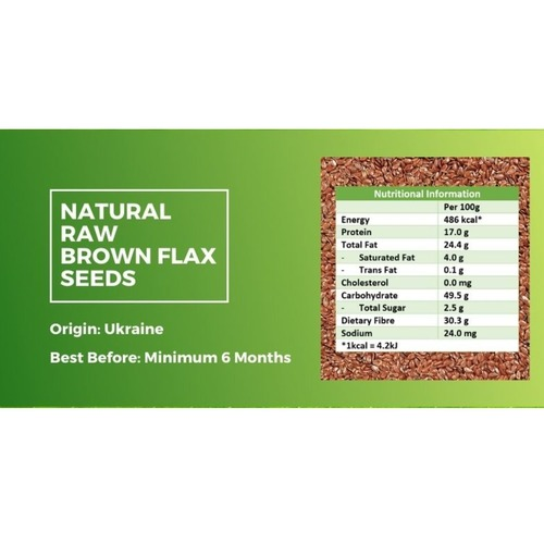 Natural Raw Brown Flax Seeds [500g] x2 - Value Bundle 1+1