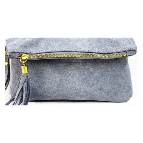 Italian Leather Suede Clutch