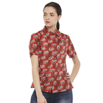 Double TWO Red Floral Print Classic Fit Womens Shirt