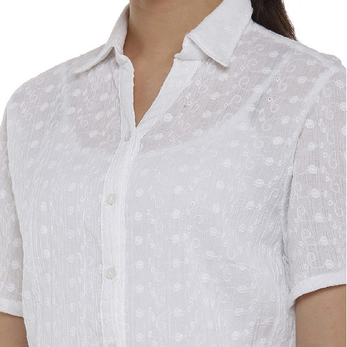 Double TWO White Floral Printed Classic Fit Women's Shirt