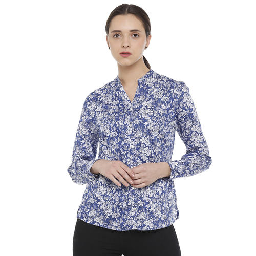 Double TWO Blue Floral Print Open Neck Classic Fit Women's Shirt