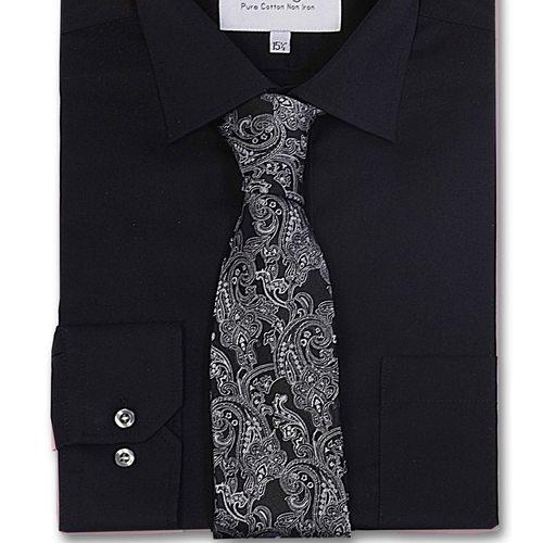 Paradigm Black Color Formal Pure Cotton Non-Iron Shirt