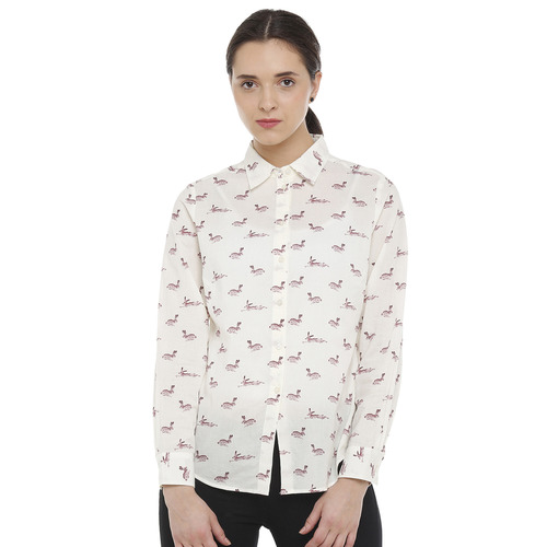 Double TWO Cream Animal Print Classic Fit Womens Shirt