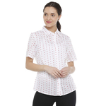 Double TWO White & Red Small Heart Print Classic Fit Women's Shirt