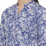 Double TWO Blue Floral Print Open Neck Classic Fit Women's Shirt