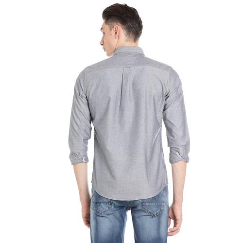 Bar Harbour Men Solid Casual Grey Shirt
