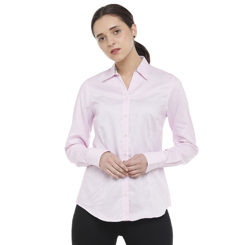 Double TWO Light Pink Solid Classic Fit Womens Shirt