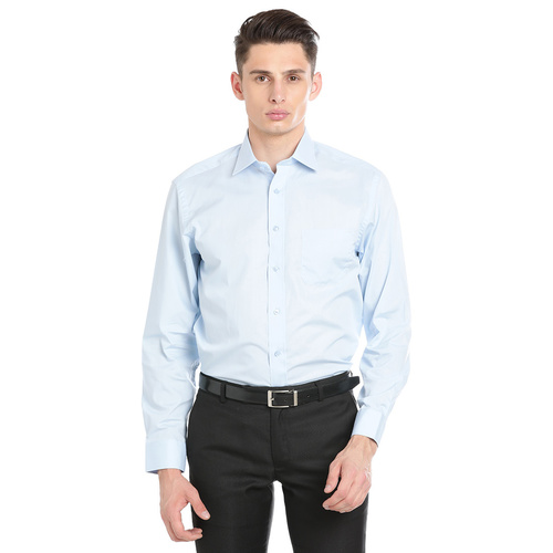 Double Two Men Formal Light Blue Cotton Shirt