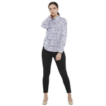 Double TWO Purple Printed Classic Fit Women's Shirt