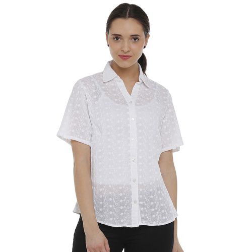 Double TWO White Floral Printed Classic Fit Womens Shirt