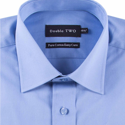 Double Two Dark Blue Long Sleeve Non-Iron Cotton Rich Shirt