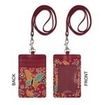 Eco Trends Handpainted Leather ID & Cardholder Lanyard Butterfly Red