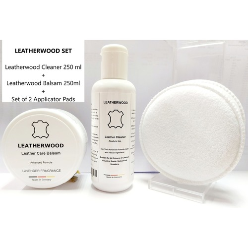 Leatherwood Leathercare Set Cleaner + Balsam + 2 Applicator Pads