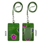 Eco Trends Handpainted Leather ID & Cardholder Lanyard Sakura Green