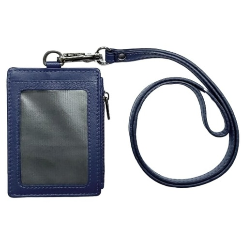 Omni ID,Card & Coin holder with Lanyard ,Navy Blue