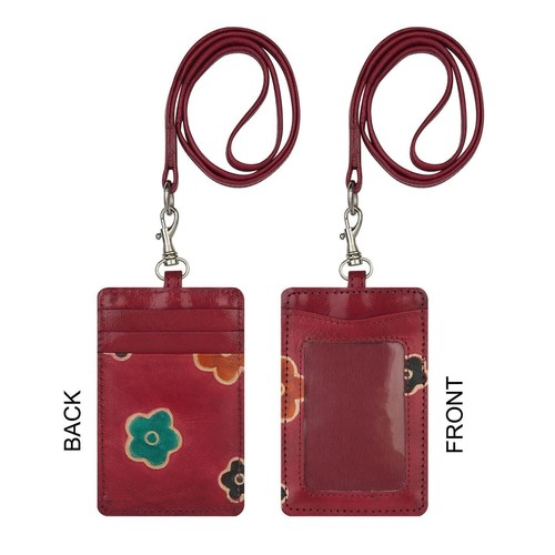 Eco Trends Handpainted Leather Cardholder Sakura Red