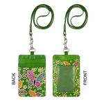 Eco Trends Handpainted Leather Lanyard with ID & Cardholder Butterfly Green