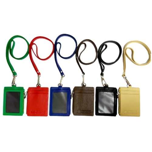 Omni ID , Card & Coin Holder with Lanyard , Col Red
