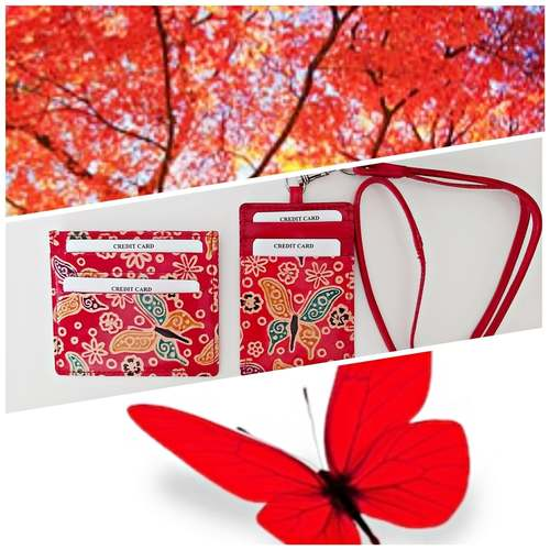 Eco Trends Card Holder & ID Holder Lanyard Set - Red