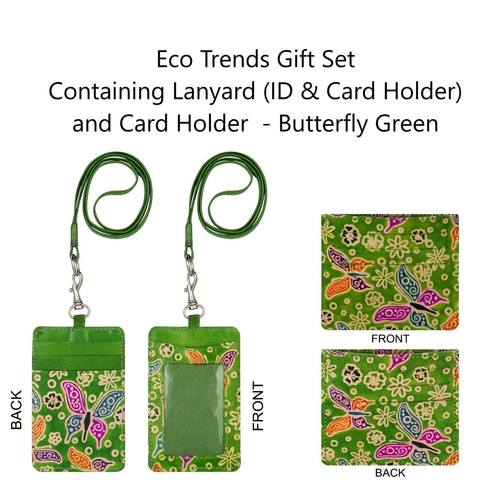 Eco Trends Lanyard With ID & Card Holder and Card Holder Set - Butterfly Green