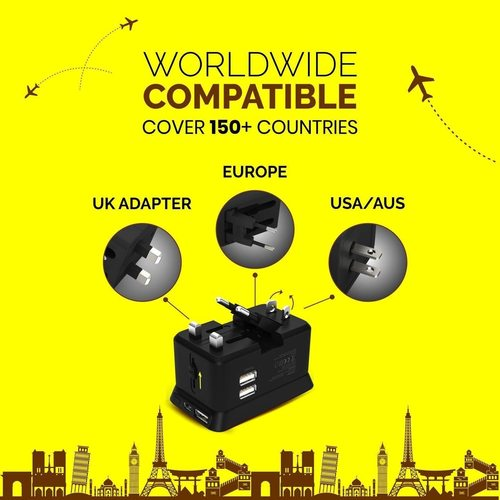 Power Pod Universal Travel Adaptor with 5000mAh Power Bank, 150+ Countries Compatibility