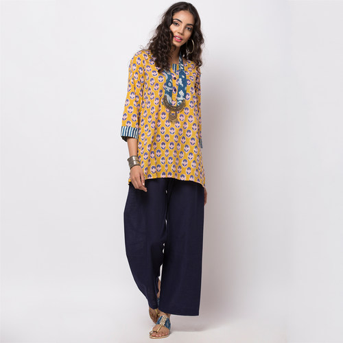 Naksh Leisure Short Kurti Block Print with a hint of Indigo