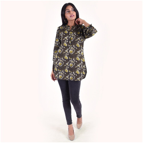 Naksh leisure short kurti katha work with blockprint