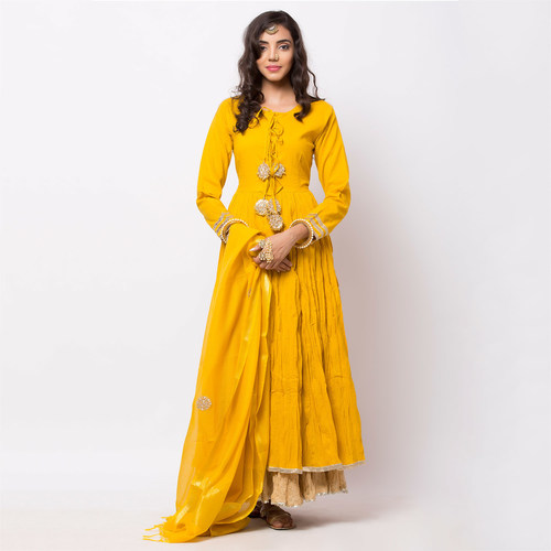 Naksh Semi-Festal Yellow Anarkali-Dupatta set