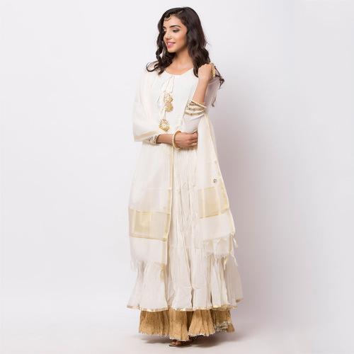 Naksh Semi-Festal White Anarkali- Dupatta set