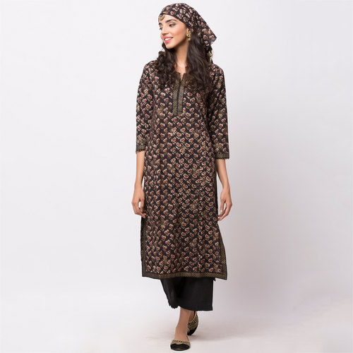 Naksh Casual Kurti Block Printed with a hint of Gold print