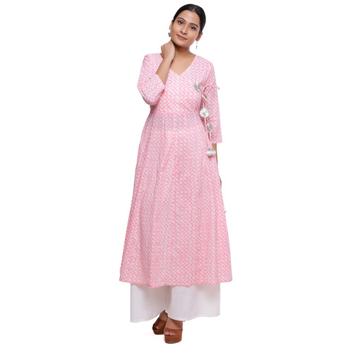 Naksh Jaipur Women cotton kurta with palazzo(pink)