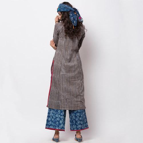 Naksh Kur-pa Block Printed Kurti-Pallazo Set