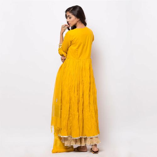 Naksh Semi-Festal Yellow Anarkali-Dupatta set