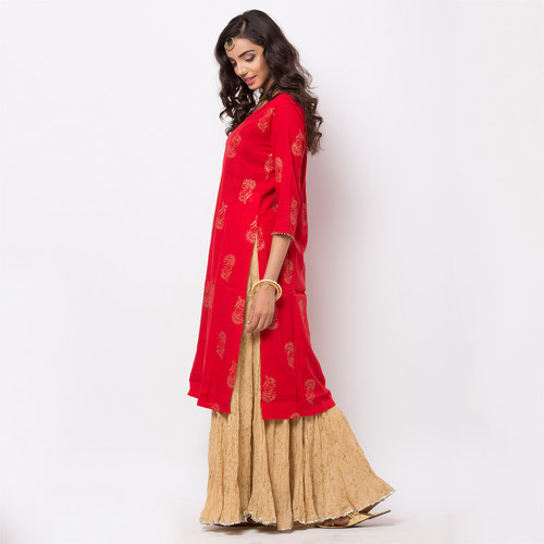 Naksh Semi-Festal Kurti with Red Gold Print