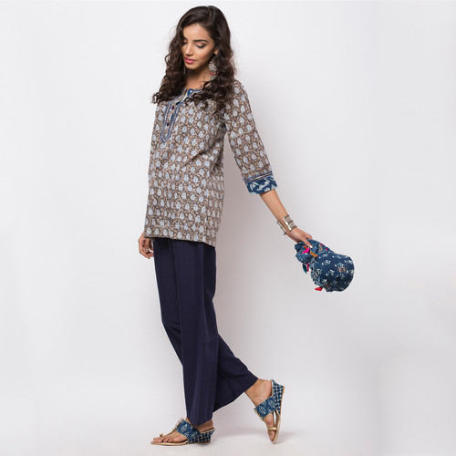 Naksh Leisure Short Kurti Dabu Block Print