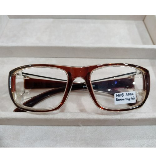 BOLLE Asian Brown B808 Size 48 with single vision safety lens uncoated stock