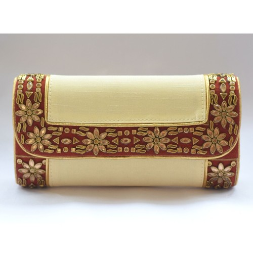 Designer Raw Silk Clutch
