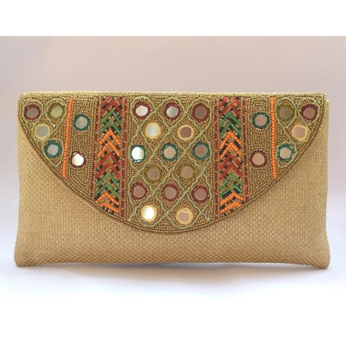 Mirror Work Jute Clutch
