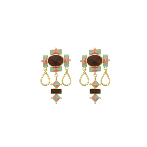 Dome of Giza Earring- Aqua Blue & Light Pink