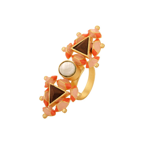 Twin Pyramid Ring- Peach